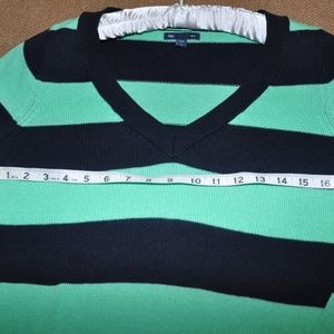 GAP Sweaters - THE GAP Mint Green and Navy Striped V-Neck Sweater